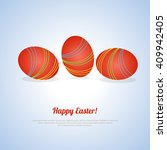 colorful red eggs on blue... | Shutterstock .eps vector #409942405