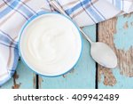 greek yogurt in a bowl ...   Shutterstock . vector #409942489