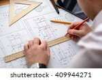 architect sketching a... | Shutterstock . vector #409944271