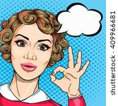 joyful woman showing ok hand... | Shutterstock .eps vector #409966681
