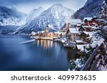 winter view of hallstatt ... | Shutterstock . vector #409973635