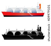 lng gas tanker. flat style and... | Shutterstock .eps vector #409979101