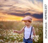 beautiful little boy in daisy... | Shutterstock . vector #409981357