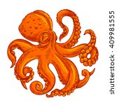 vector image or logo octopus on ... | Shutterstock .eps vector #409981555