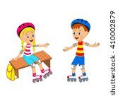 boy and girl on roller skates ... | Shutterstock .eps vector #410002879