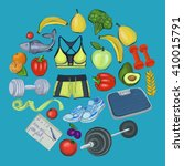 healthy lifestyle icons doodle... | Shutterstock .eps vector #410015791