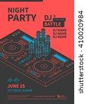 Stock vector dance night party design poster dj battle show dj console line illustration vector 410020984