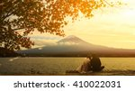 mt. fuji with autumn foliage at ...   Shutterstock . vector #410022031
