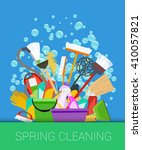 spring cleaning background. set ... | Shutterstock . vector #410057821