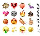 set of emoticons  emoji  white... | Shutterstock .eps vector #410064367