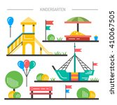 children's playground with... | Shutterstock .eps vector #410067505