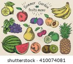 fruits menu  summer garden ... | Shutterstock .eps vector #410074081