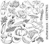 vegetables doodle set. big... | Shutterstock .eps vector #410079961