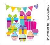 happy birthday banner. vector... | Shutterstock .eps vector #410082517