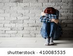 depressed young crying woman  ... | Shutterstock . vector #410085535