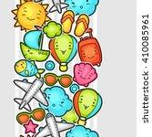 seamless travel kawaii pattern... | Shutterstock .eps vector #410085961