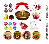 big set of casino gambling... | Shutterstock .eps vector #410087014