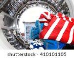 closeup of cloths inside the... | Shutterstock . vector #410101105