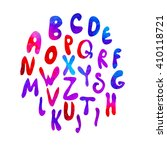 watercolor hand drawn latin... | Shutterstock .eps vector #410118721
