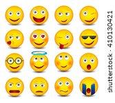 set of emoticons on white... | Shutterstock .eps vector #410130421