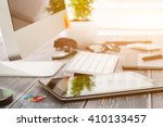 office workplace with tablet... | Shutterstock . vector #410133457