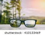 Glasses Focus Background Woode...