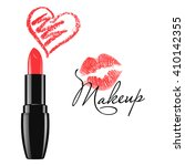makeup red lipstick and doodle...   Shutterstock .eps vector #410142355