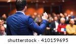 speaker giving a talk on...   Shutterstock . vector #410159695