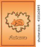 autumn card with family fox in... | Shutterstock .eps vector #410160895