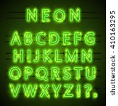 Neon Font City. Neon Green Fon...