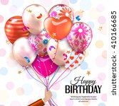 birthday card with hand holds... | Shutterstock .eps vector #410166685