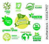 set of green icons on the white ... | Shutterstock .eps vector #410167957
