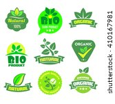 set of organic bio icons on the ... | Shutterstock .eps vector #410167981
