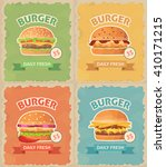 vintage fast food burger set.... | Shutterstock .eps vector #410171215