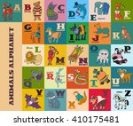cartoon doodle animals alphabet ... | Shutterstock . vector #410175481