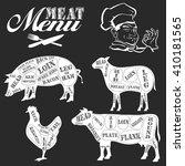 meat menu. set of butcher shop ... | Shutterstock . vector #410181565