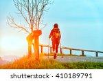 religious pilgrimage a girl... | Shutterstock . vector #410189791