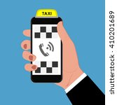 taxi sign and smartphone ... | Shutterstock .eps vector #410201689