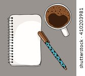 coffee cup  notebook and pen on ... | Shutterstock .eps vector #410203981