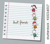 notebook paper happy kids... | Shutterstock .eps vector #410216017