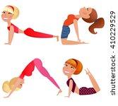 yoga woman set.gymnastics for... | Shutterstock .eps vector #410229529