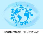 blue earth globe silhouette  | Shutterstock .eps vector #410245969
