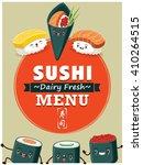 vintage sushi poster design... | Shutterstock .eps vector #410264515