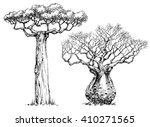 african iconic tree  baobab tree | Shutterstock .eps vector #410271565