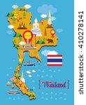 thailand map detail landmarks ... | Shutterstock .eps vector #410278141