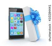 smartphone in gift box....   Shutterstock . vector #410284441