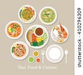thai food and cuisine set ... | Shutterstock .eps vector #410296309