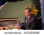 Small photo of NEW YORK CITY - APRIL 22 2016: Opening ceremonies at the United Nations General Assembly took place prior to member nations signing the Paris Climate Accord. Peruvian president Ollanta Humala