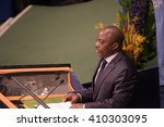 Small photo of NEW YORK CITY - APRIL 22 2016: Opening ceremonies at the United Nations General Assembly took place prior to member nations signing the Paris Climate Accord. President of the Congo Joseph Kabila