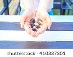 multivitamin tablets on hand of ... | Shutterstock . vector #410337301